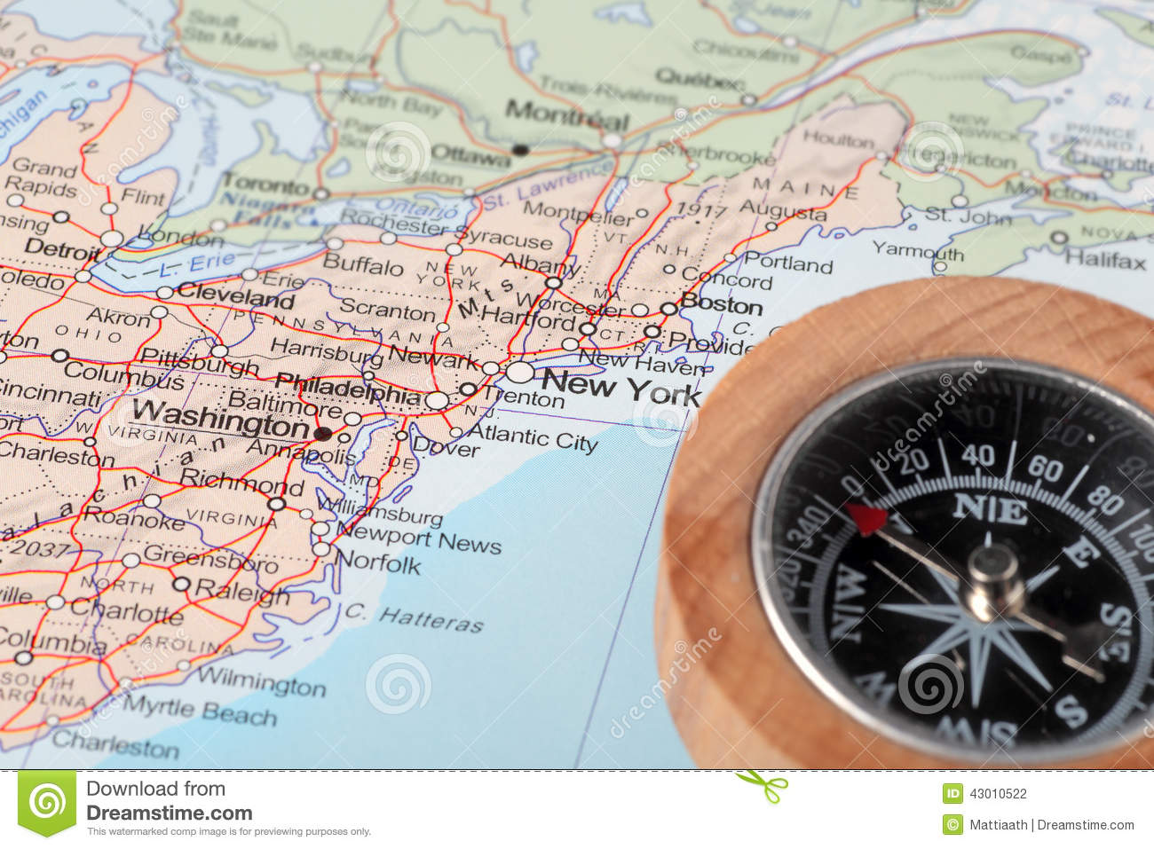 Travel Destination New York United States, Map With Compass Stock ...