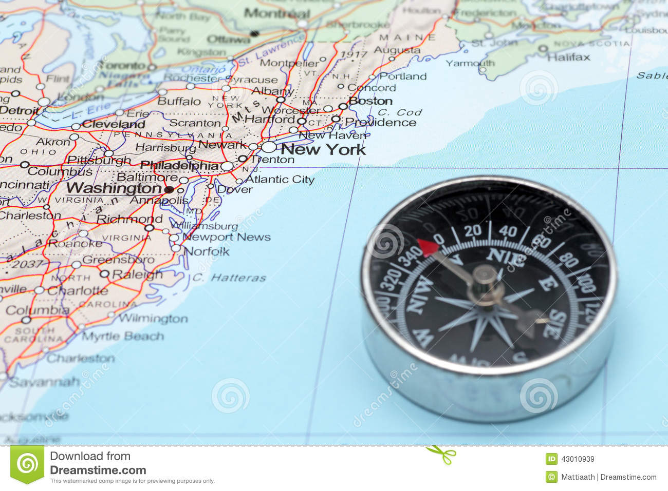 Travel Destination New York United States Map With Compass Stock - Us map with compass