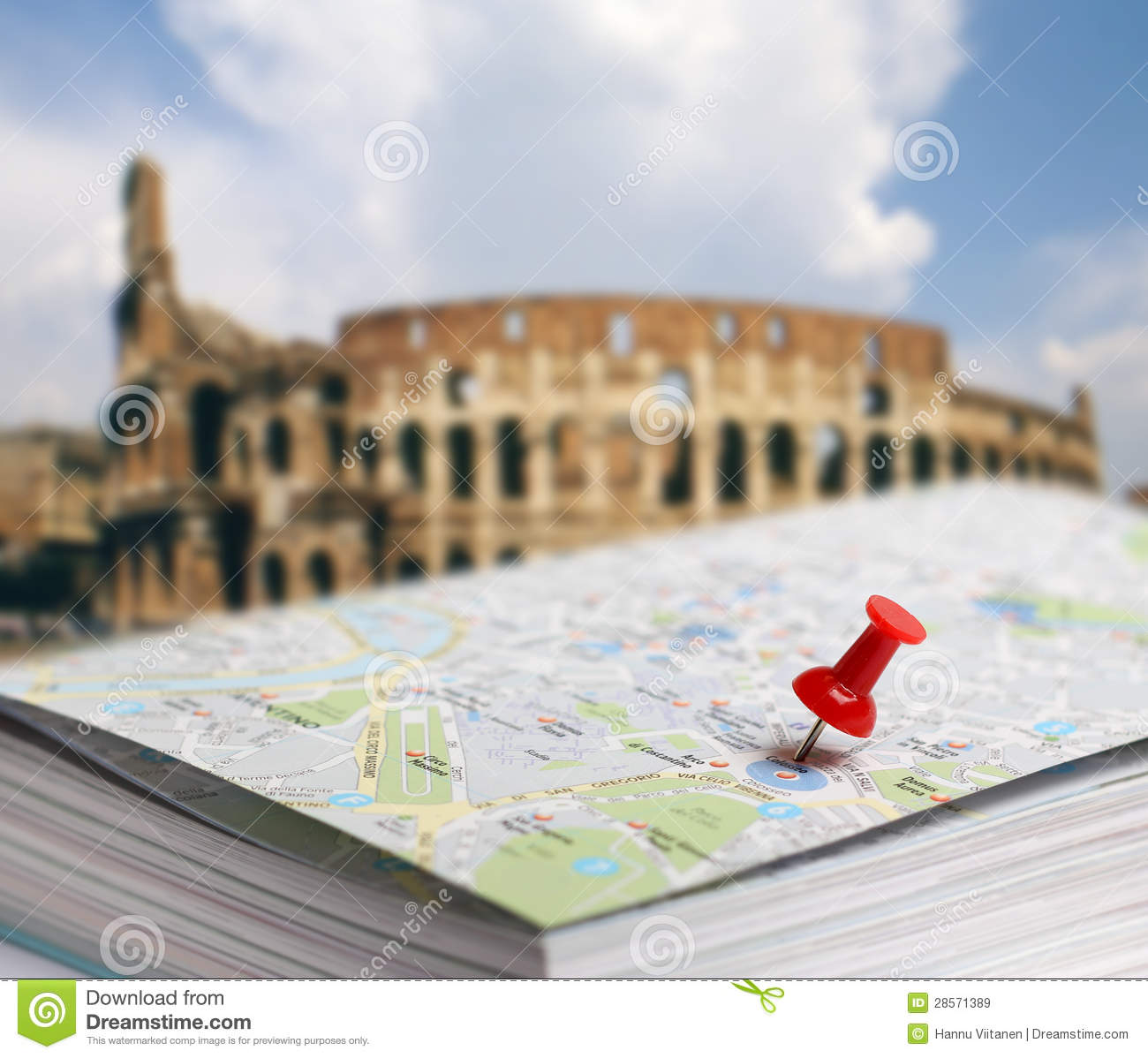 Travel Destination Rome Map Push Pin Blur Royalty Free Stock - Rome map download