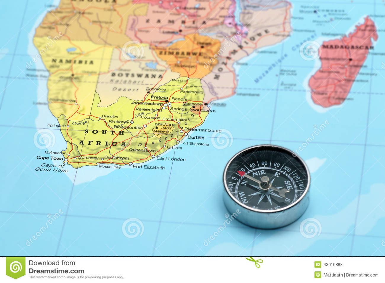 Travel Destination South Africa, Map With Compass Stock Photo