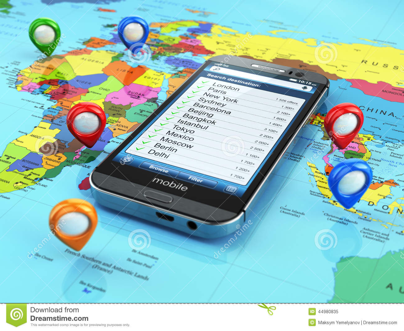 Travel Destination And Tourism Concept. Smartphone On World Map Stock