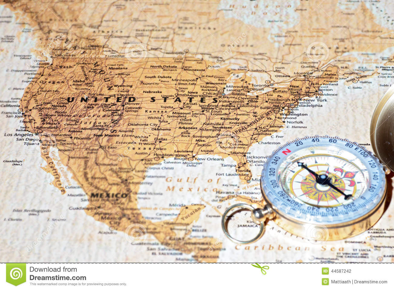 Travel Destination United States, Ancient Map With Vintage Compass ...