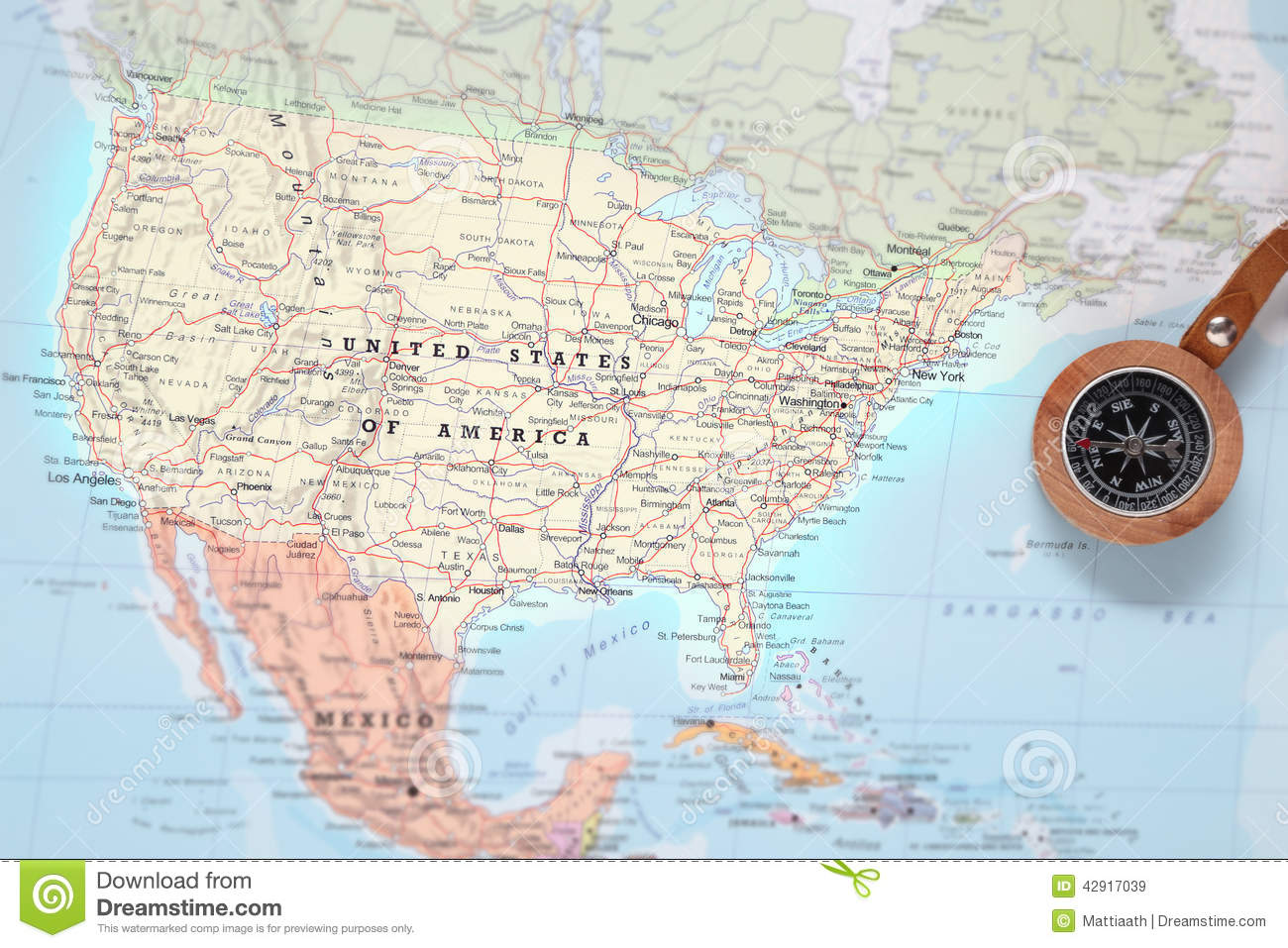 Travel Destination United States, Map With Compass Stock Image ...