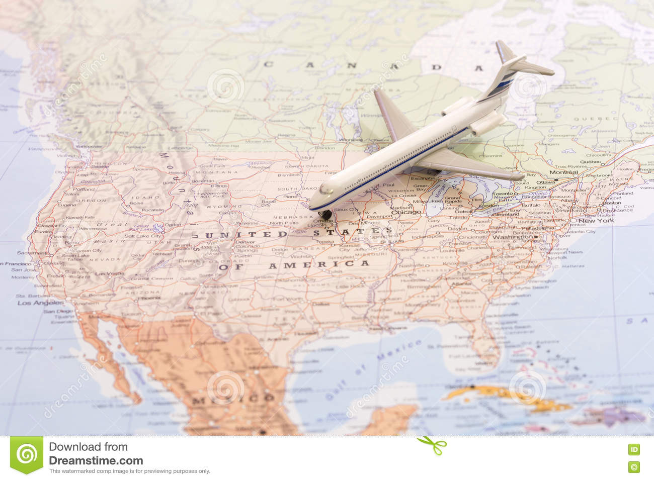 Miniature Of Passenger Airplane On A Map Travel Destination USA – Travel Map Of Usa