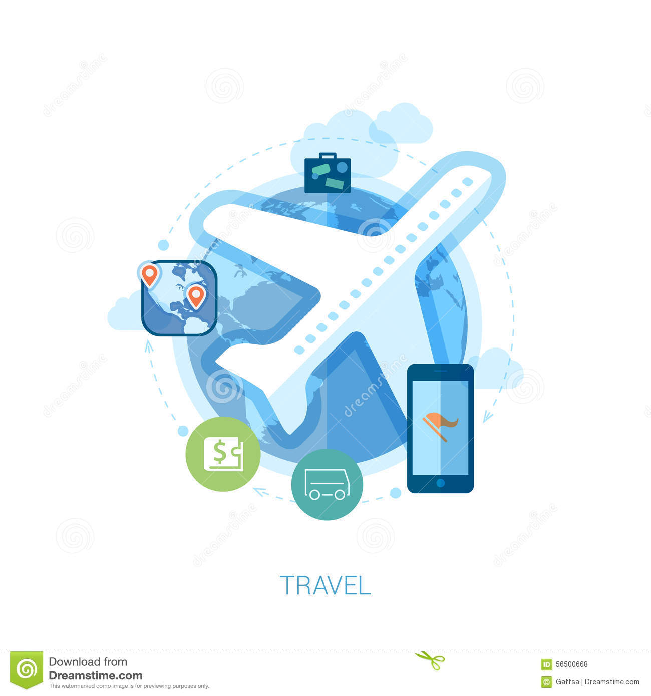 Travel Destination Via Air And Online Booking Flat Stock