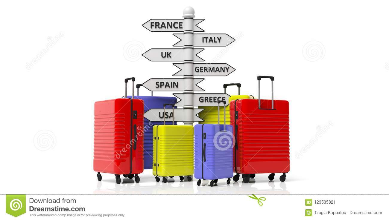 Bright colors suitcases and countries destinations pole isolated on white background. 3d illustration