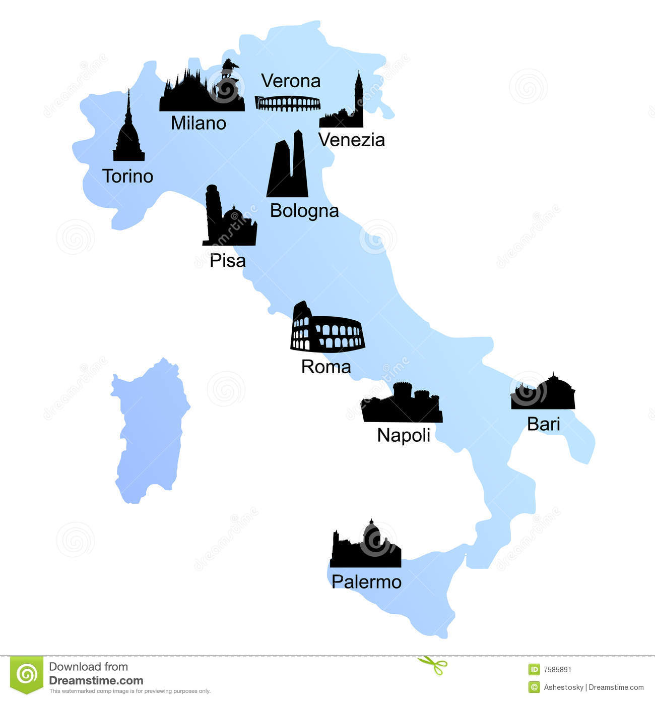Travel Destinations On Italy Map Stock Image Image 7585891