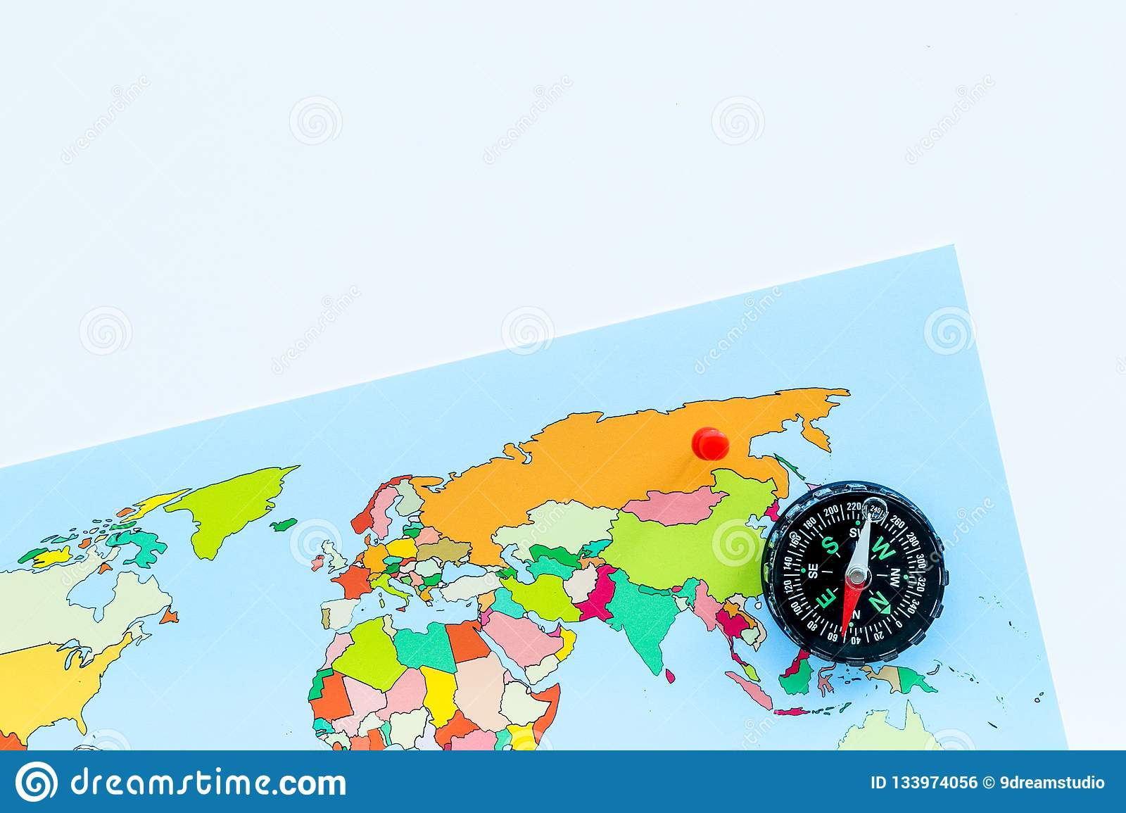 Map Of The World With Compass