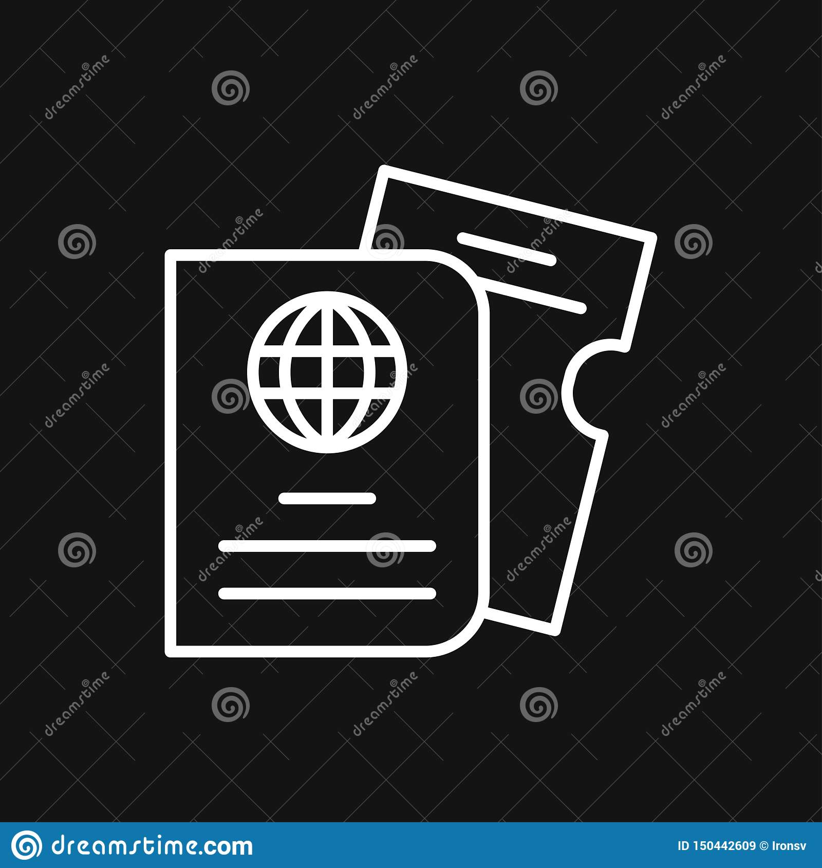 Travel documents icon, passport with tickets flat icon isolated. Concept travel and tourism