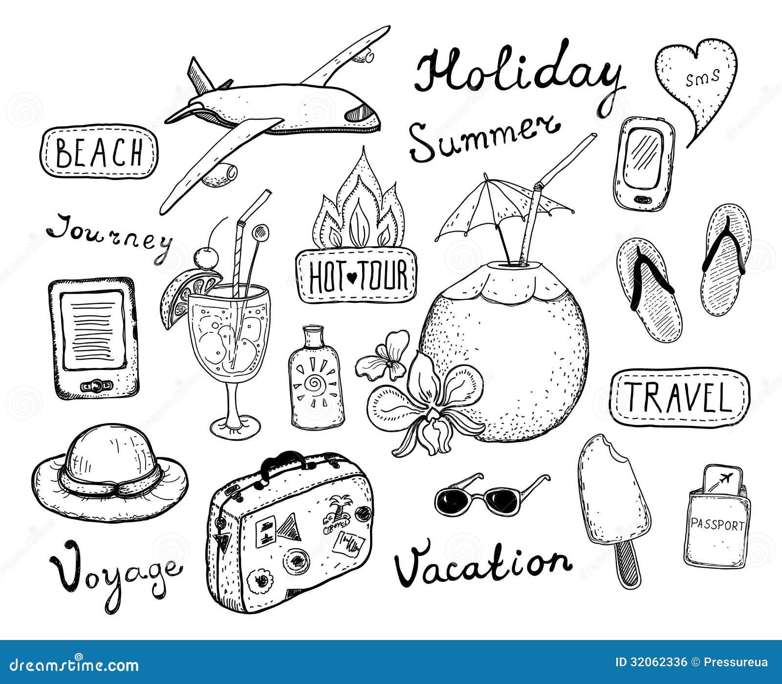 Travel doodle elements set stock vector. Illustration of cream ...