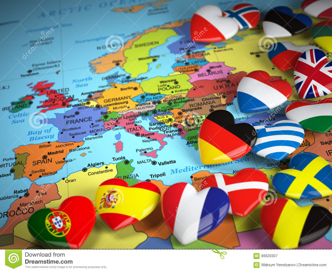Travel EU Concept Map Of Europe And Hearts With Flags Of Europe – Travel Maps Of Europe