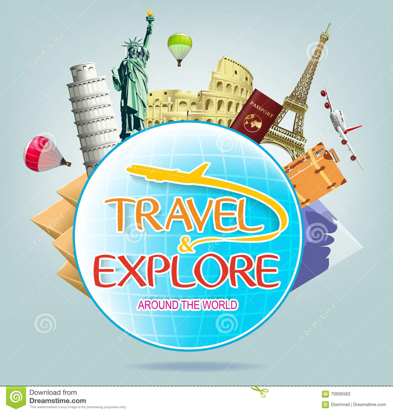 travel and explore around the world with globe and iconic