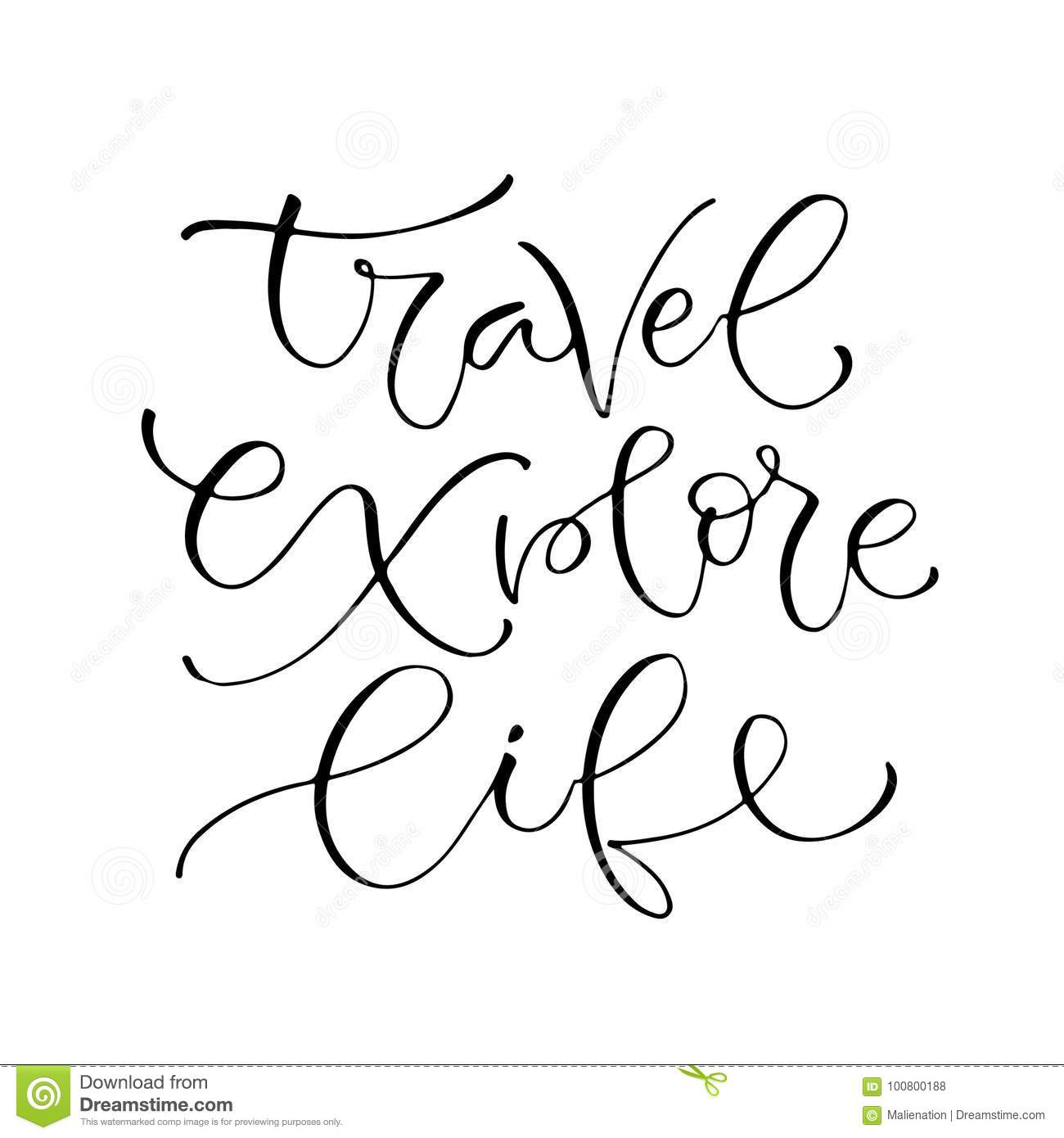 Travel explore life handwritten positive quote to printable home handwritten positive quote to printable home decoration greeting card m4hsunfo