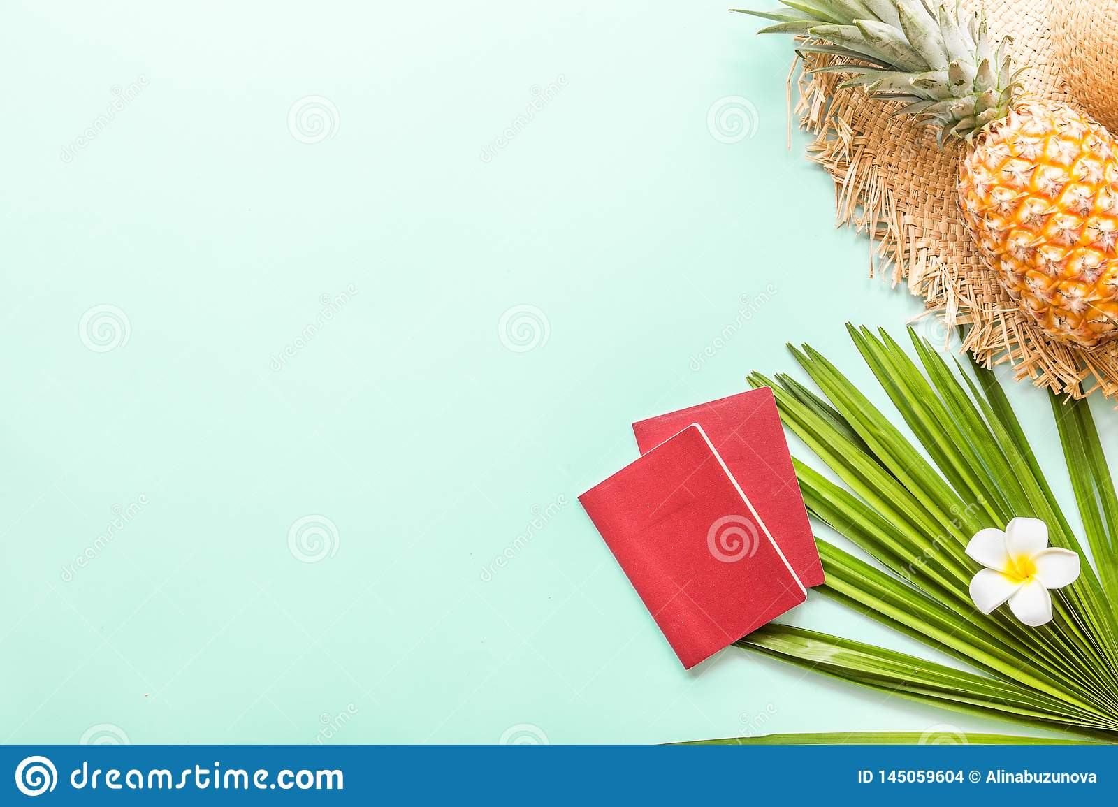Travel flat lay items: fresh pineapple, tropical flower and palm leaf. Place for text. Top view. Summer concept