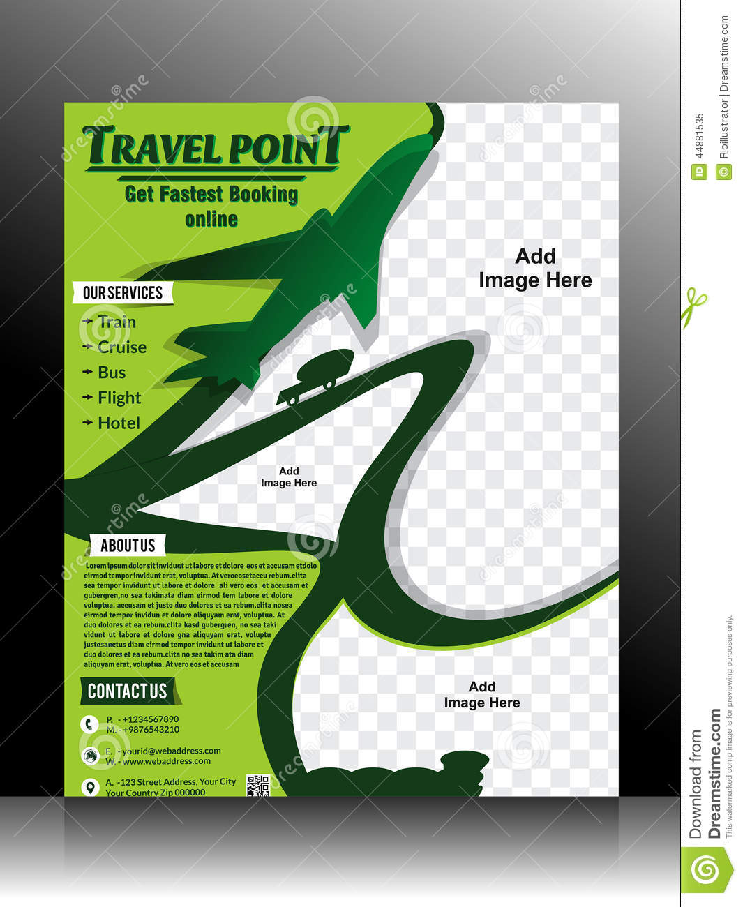 Travel Flyer Template Stock Vector Image 44881535