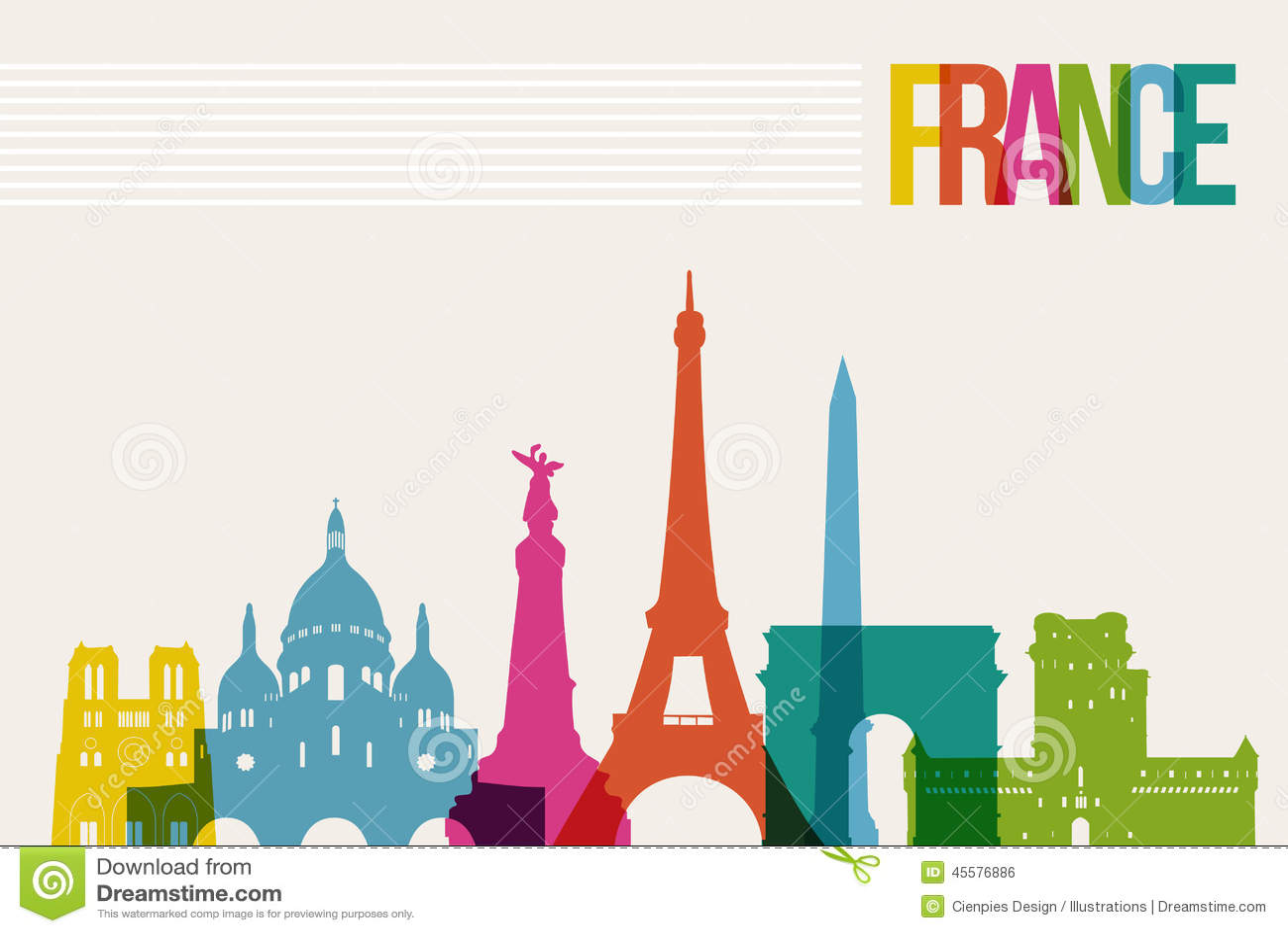 Travel France Destination Landmarks Skyline Illustration 45576886