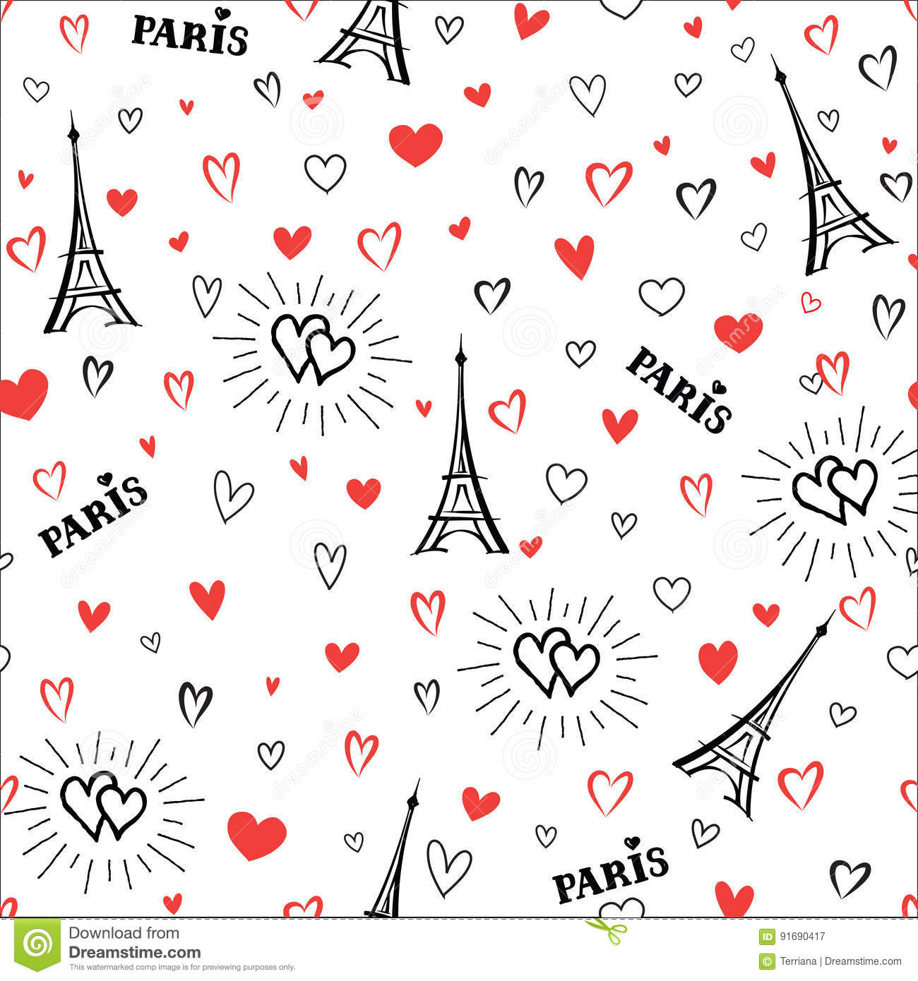 Download Travel France Seamless Pattern Love Paris City Wallpaper Stock Illustration