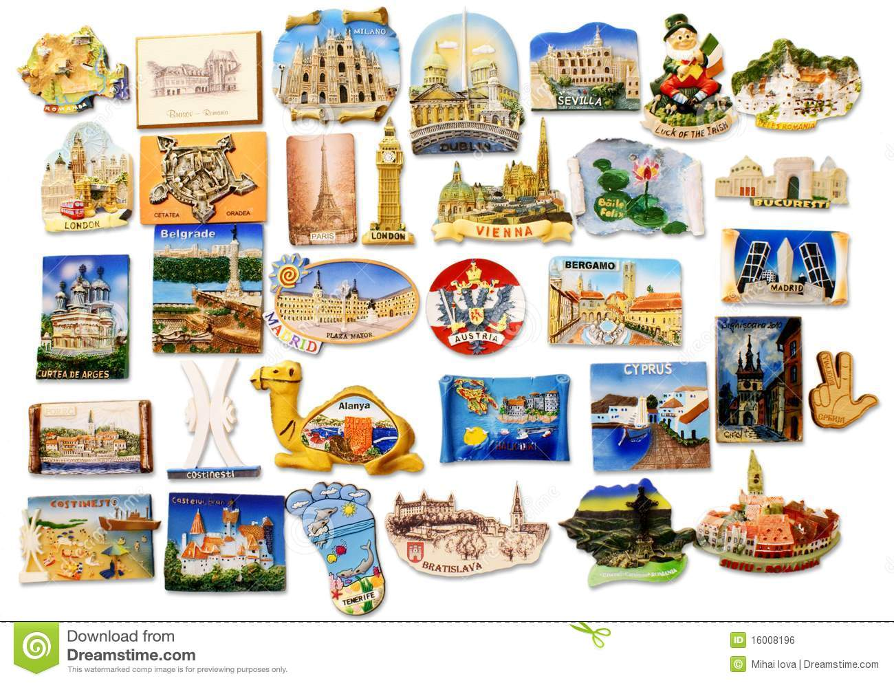 Travel Fridge Magnet Collection Stock Photo Image 16008196