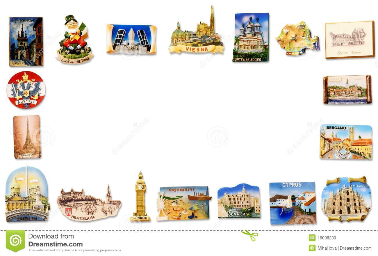 Travel Fridge Magnet Frame Stock Photo Image Of Countries