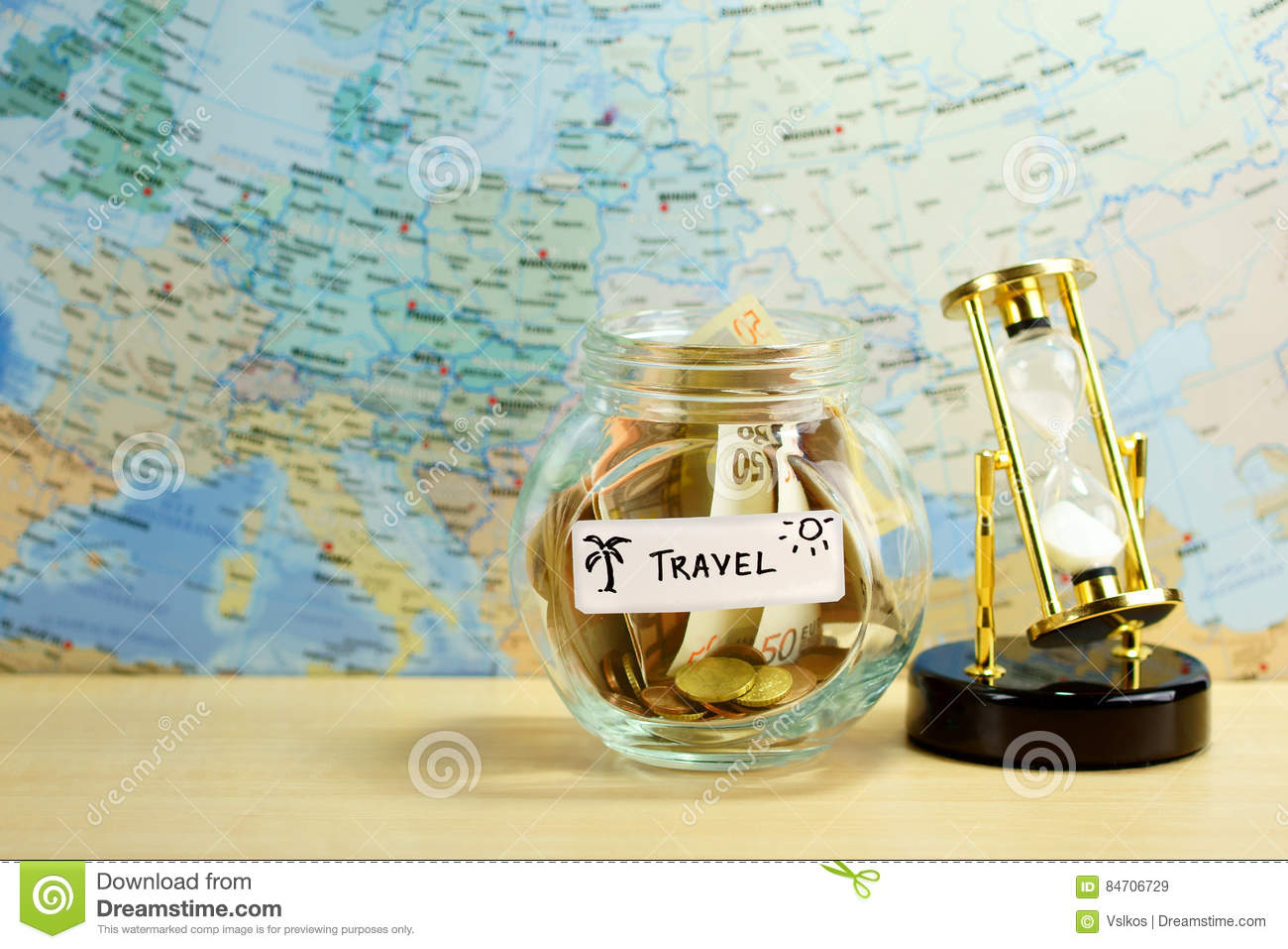 Travel fund stock image image of adventures sand clock 84706729 royalty free stock photo gumiabroncs Gallery