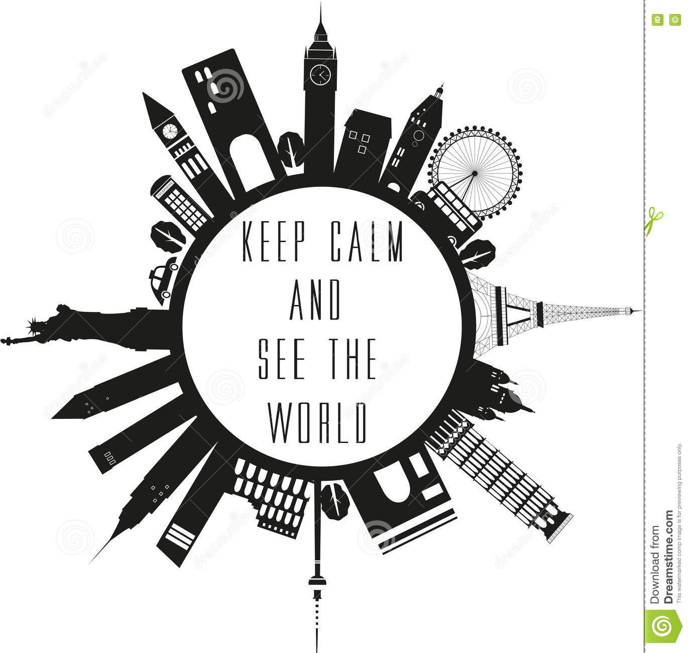 Travel Globe With Quote Stock Vector Illustration Of Eiffel