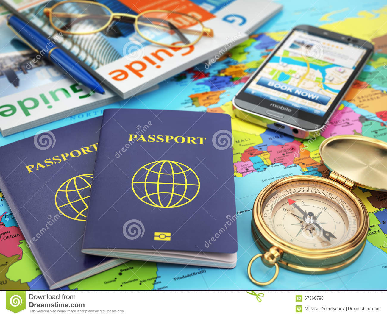 Travel guide concept passport compass guide books mobile phone travel guide concept passport compass guide books mobile phone gumiabroncs Choice Image
