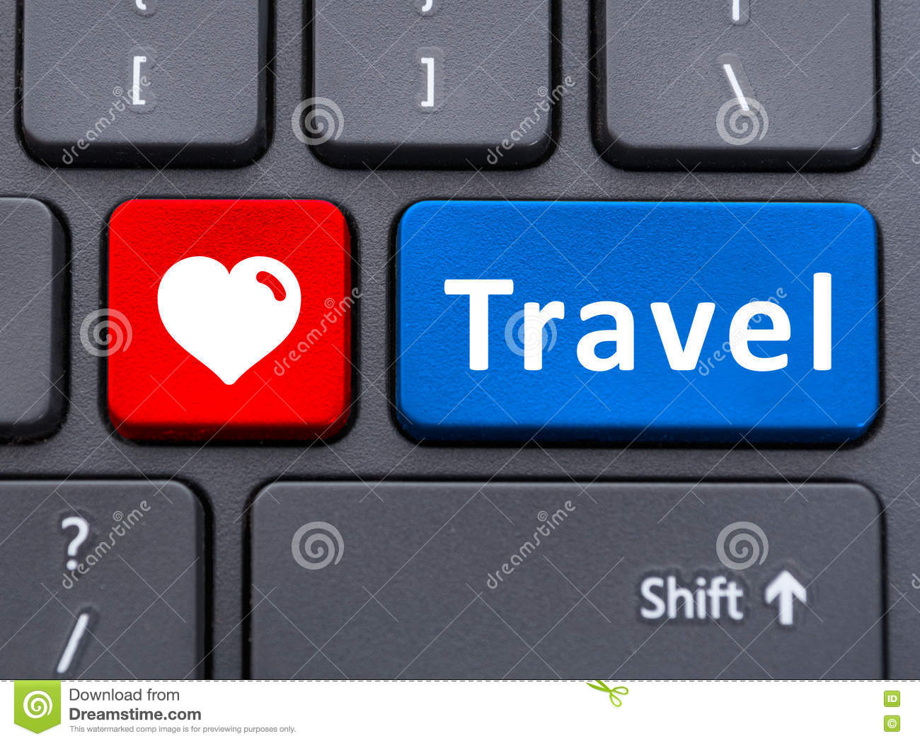 Travel And Heart Symbol Text Buttons On Keyboard Stock Photo Image