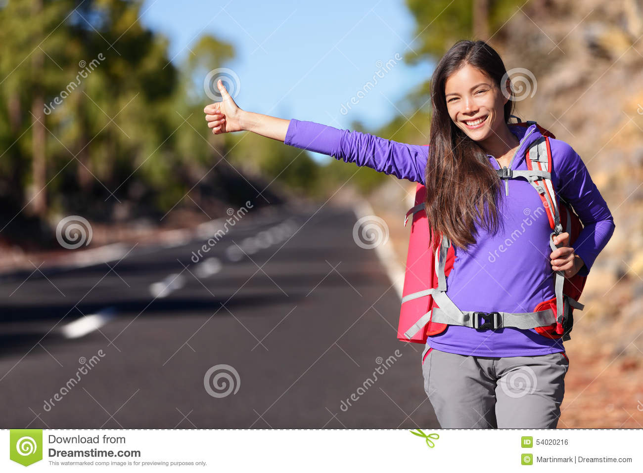 Hitchhikers By Side Of Road >> Travel Hitchhiker Woman Backpacking Hitchhiking Stock Photo Image