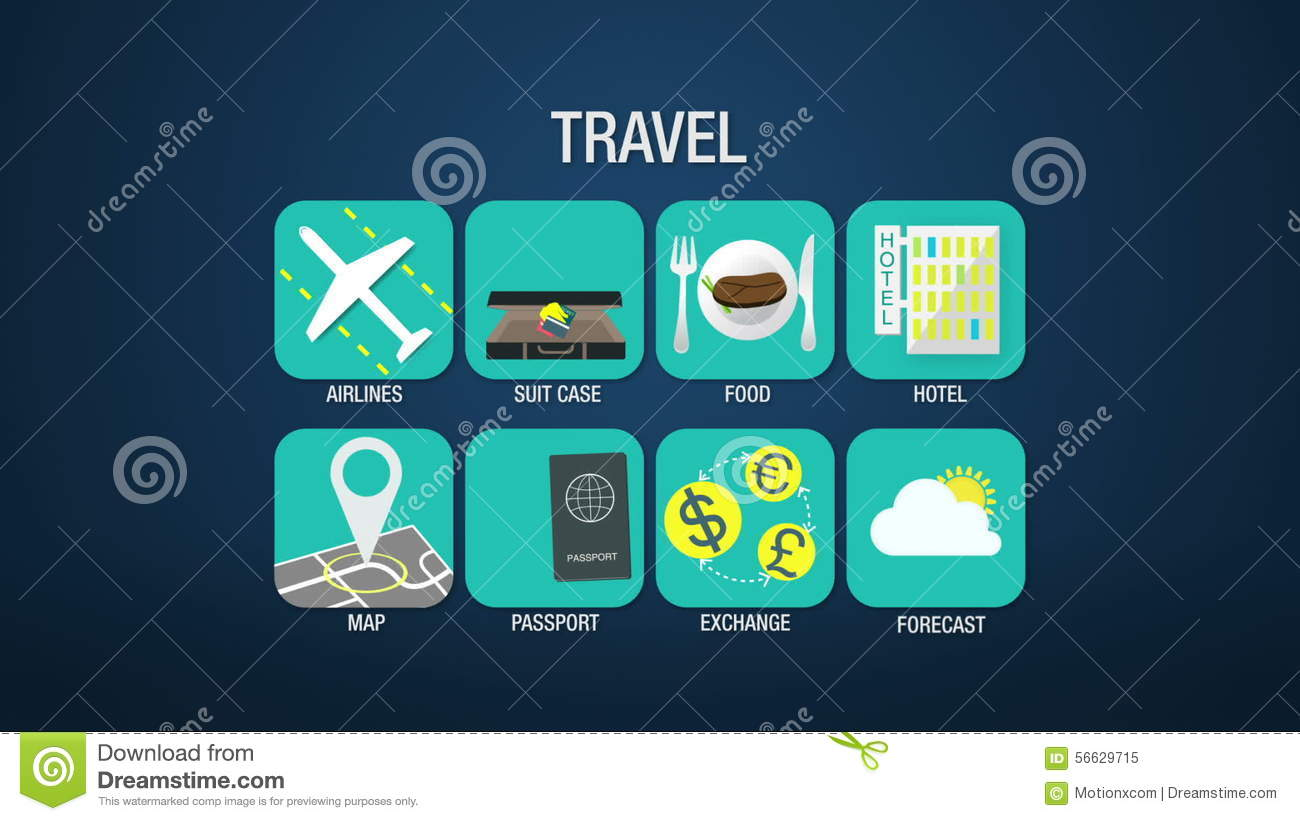 Travel Icon Set Animationairlinesuitcase Food Hotel Map – Travel Weather Map Forecast