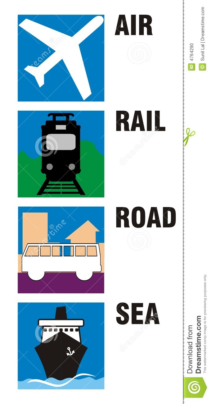 Travel Icons Air Rail Road Stock Illustration