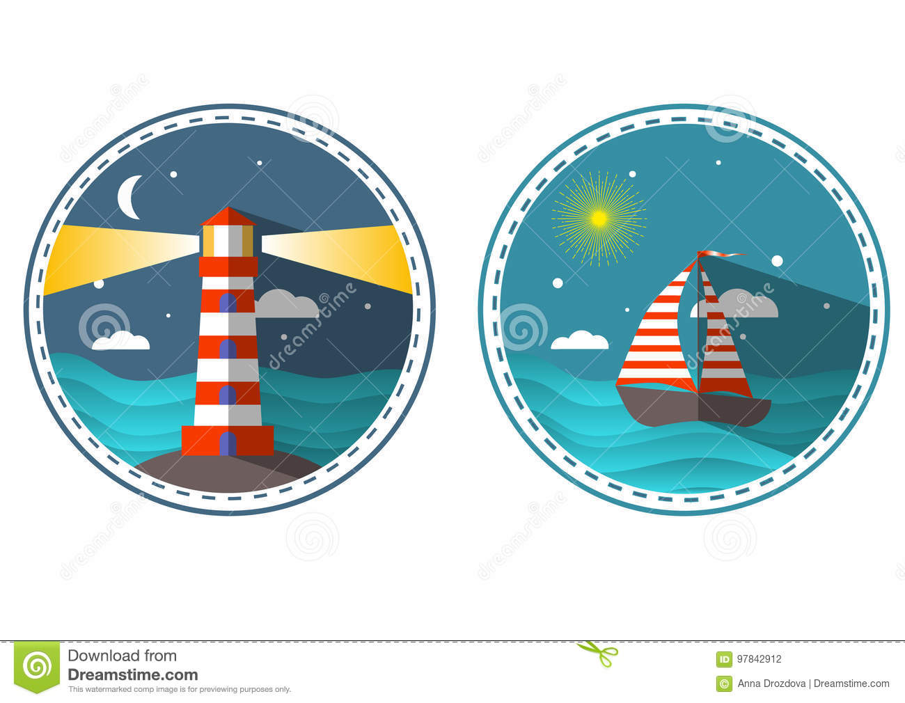 Travel icons in circle