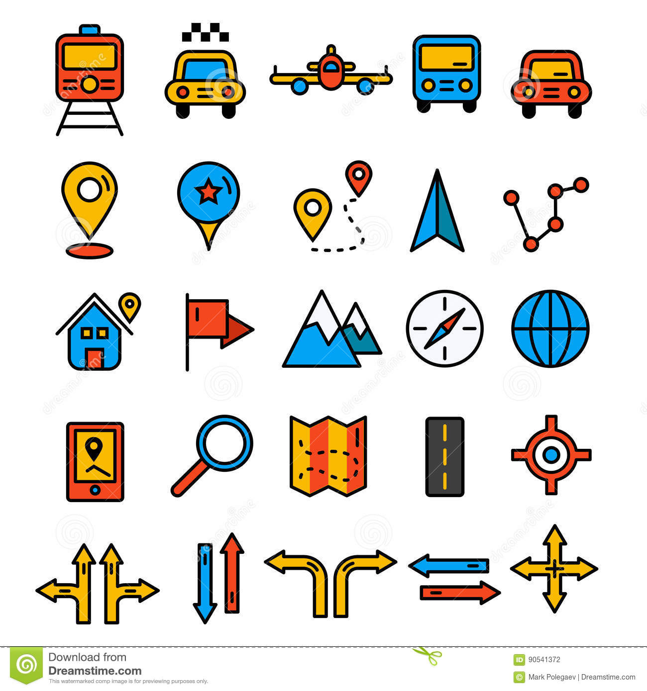 Travel Icons In Flat Solid Line Design Map Markers Stock Vector