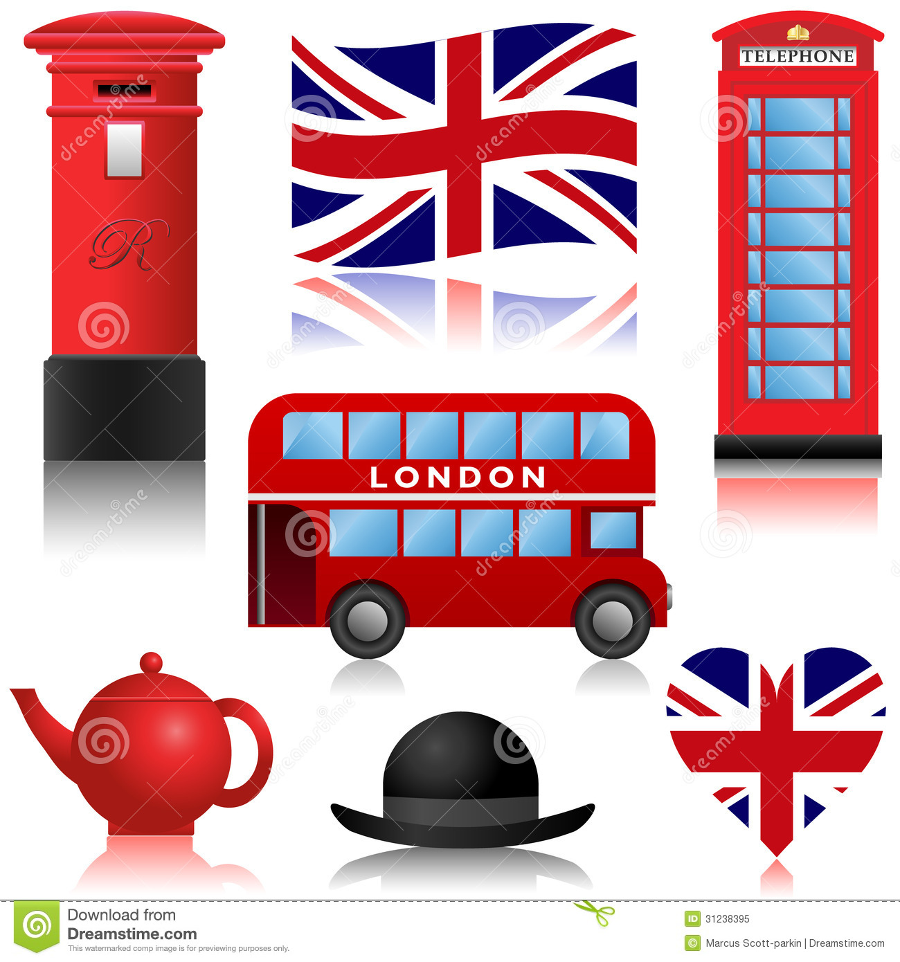 Travel Icons London And Uk Royalty Free Stock Photo