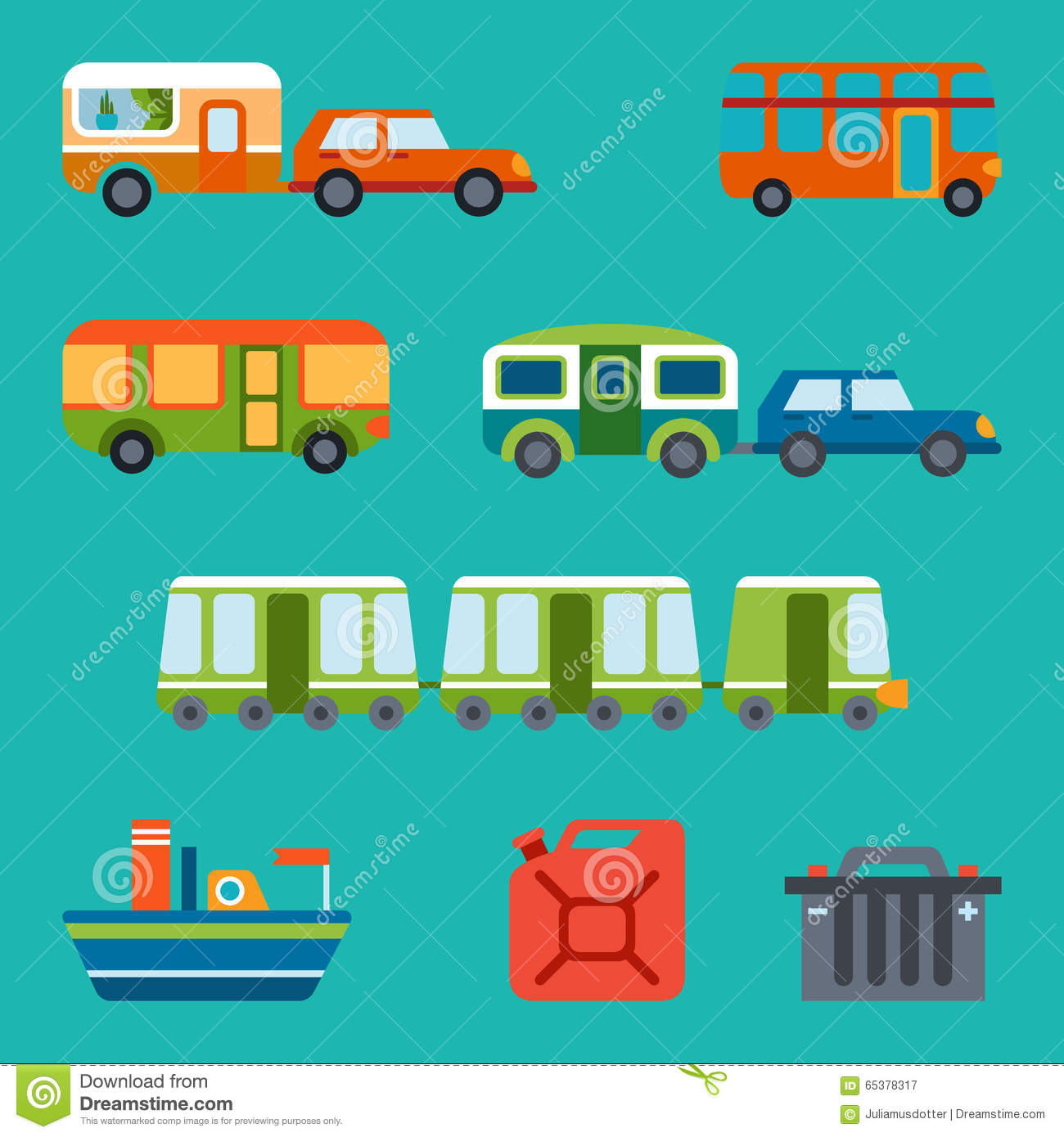 Travel Illustration With Different Types Of Transport Stock Vector ...