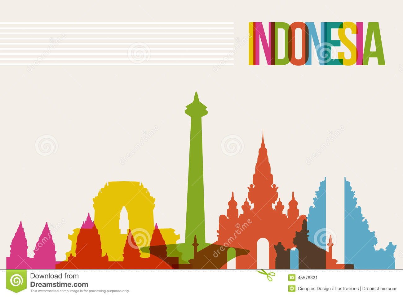 Travel Indonesia Destination Landmarks Skyline Background Stock Vector ...