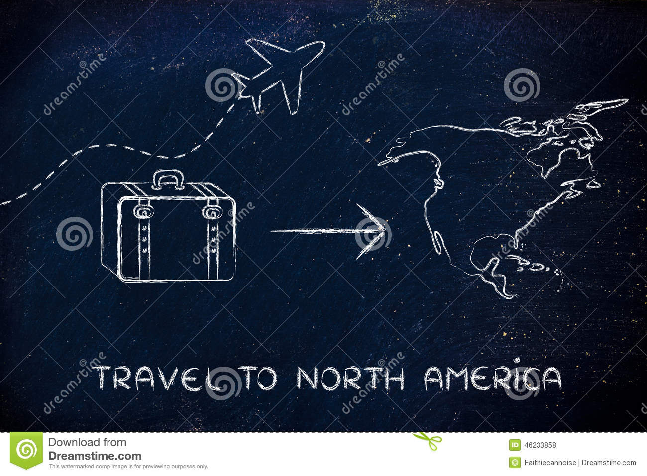 Travel industry: airplane and luggage going to North America