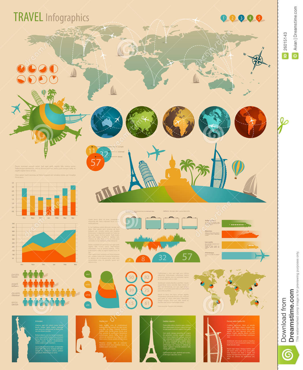 Travel Infographic Set With Charts Stock Photos Image