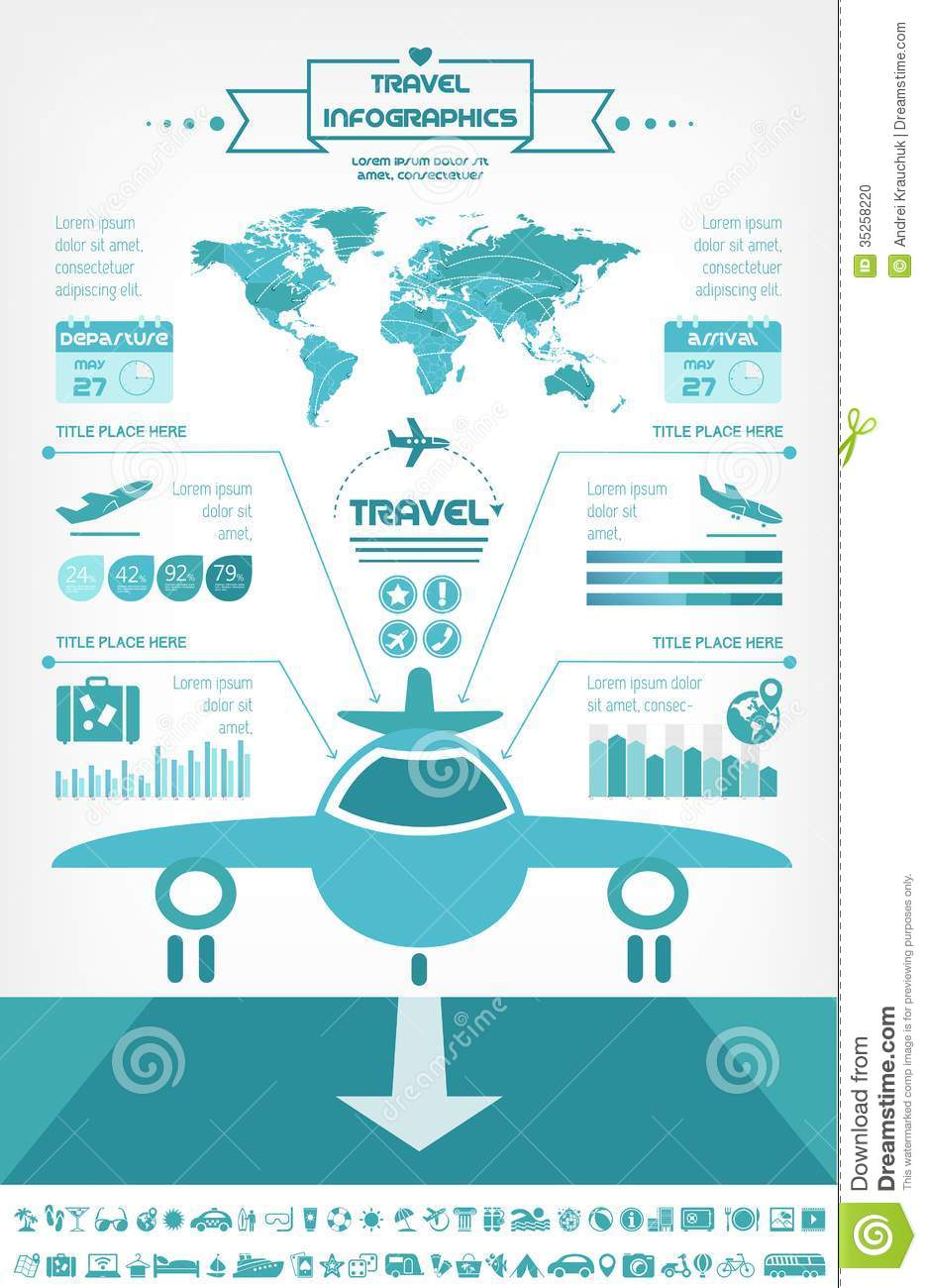 travel infographic template  stock vector