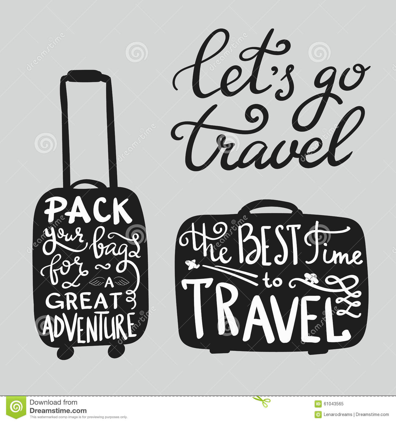 Travel Inspiration Quotes On Suitcase Silhouette Stock