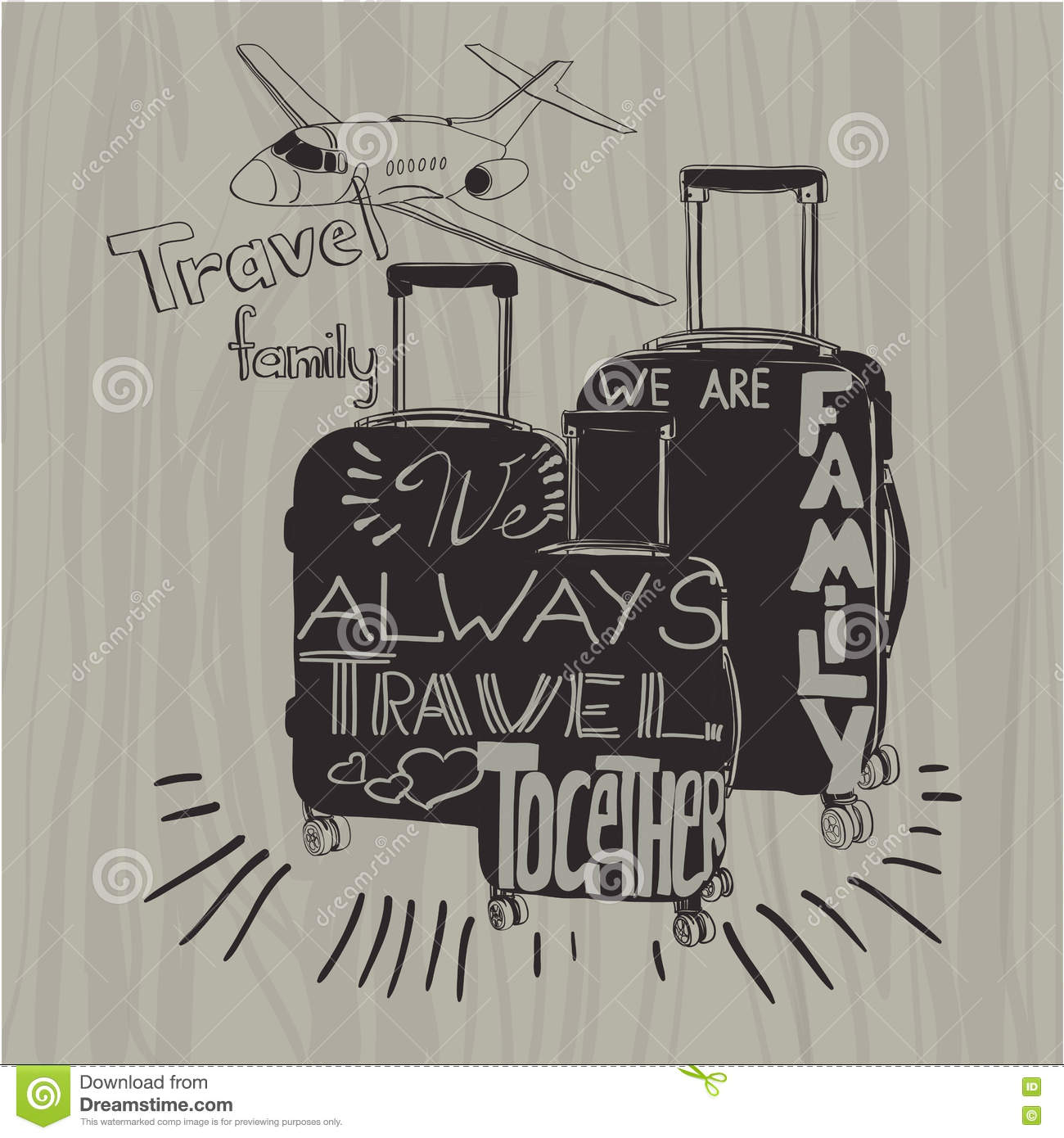 travel inspiration quotes on suitcase silhouette vintage letter
