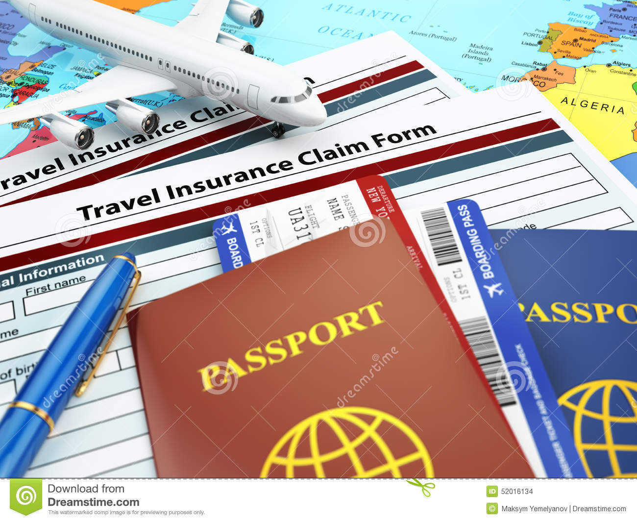 Travel Insurance Application Form Passport And Airplane On The
