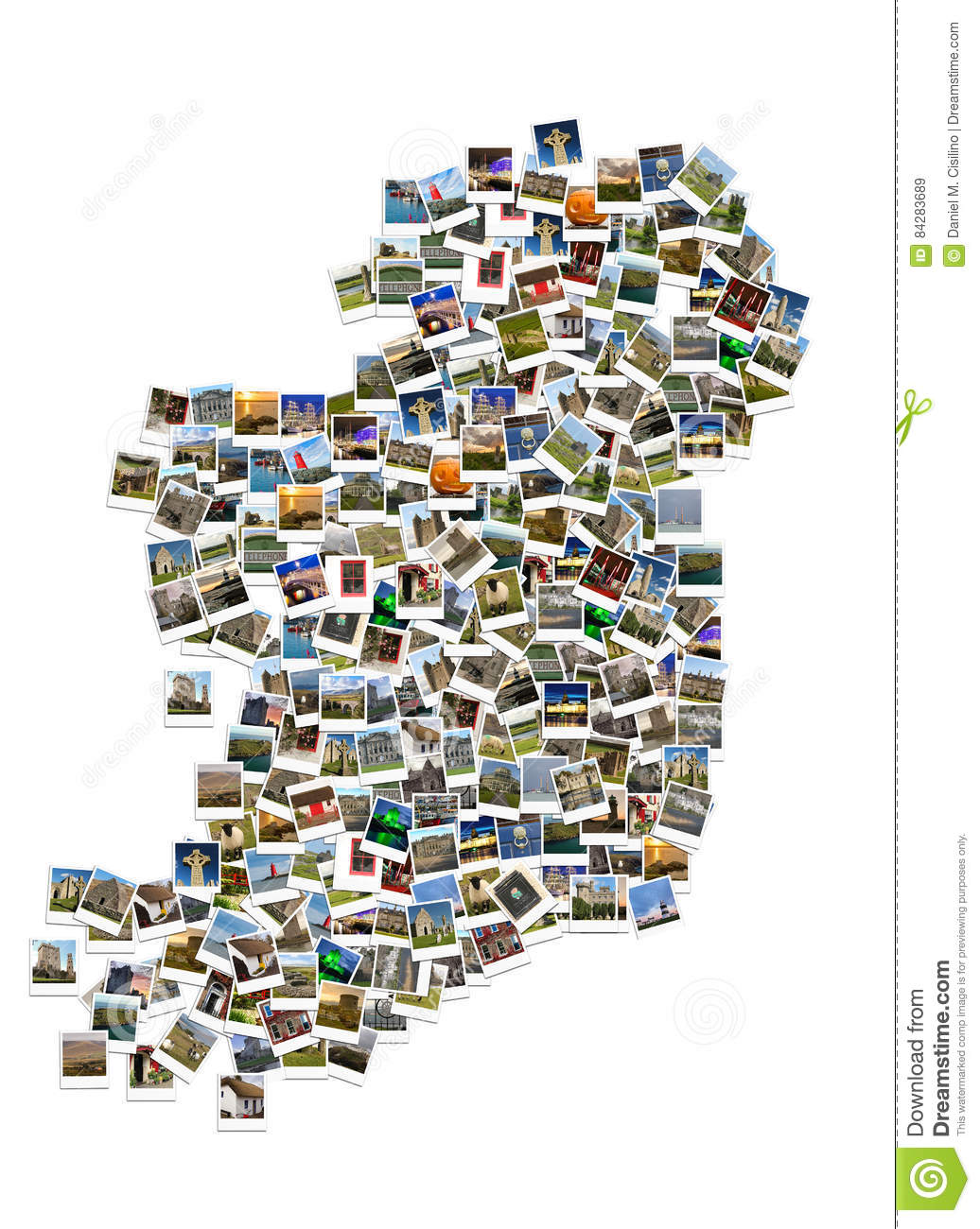 Map Of Ireland Historical Sites.Travel In Ireland Collage Map Made Of Polaroids Stock Photo