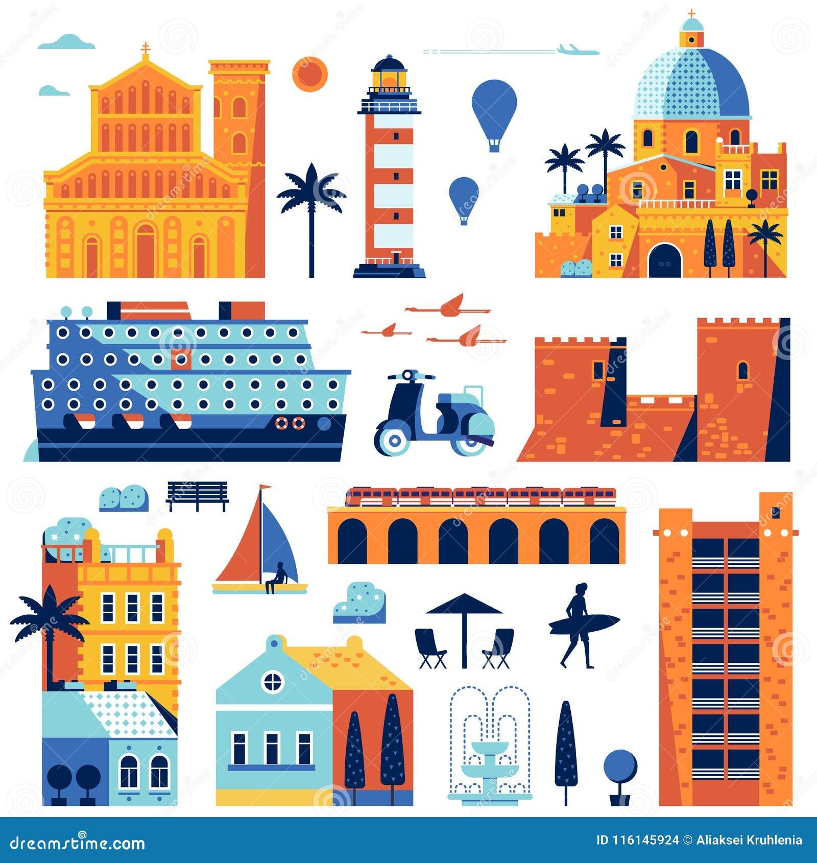 Village Mediterranean Sea Stock Illustrations – 339 ...