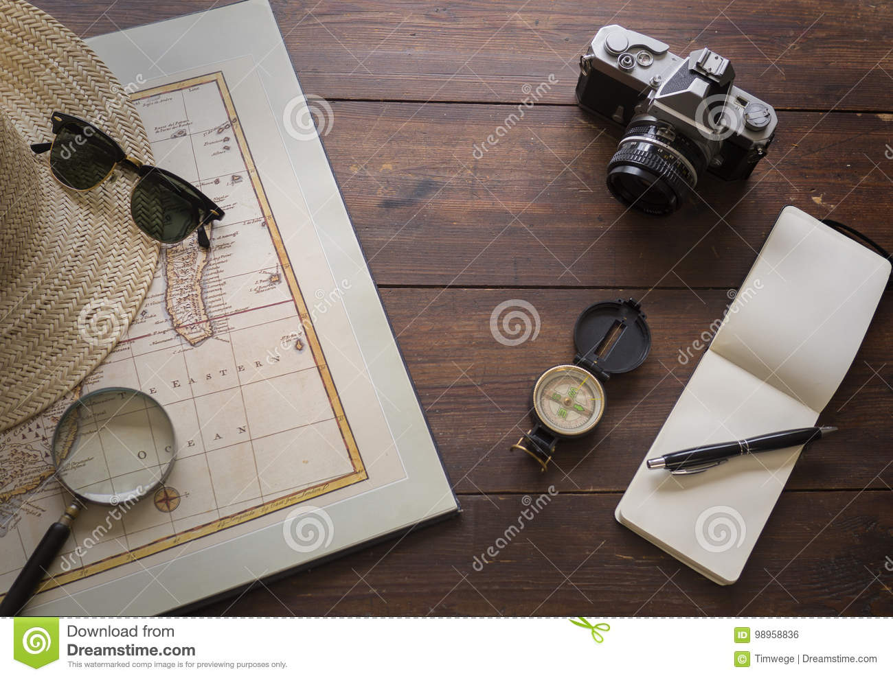 Travel items with map and camera
