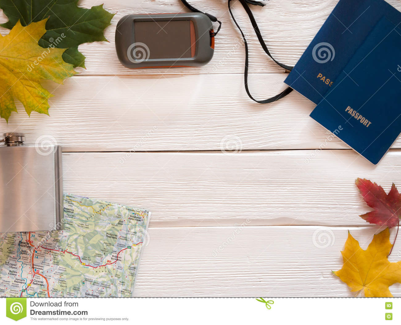 Travel Items For Trip With Map, Passports, GPS And Hiking