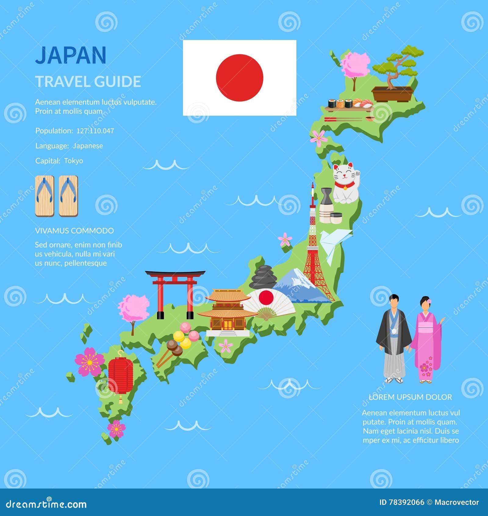 Travel Japan Guide Flat Map Poster Illustration Megapixl - Japan map poster
