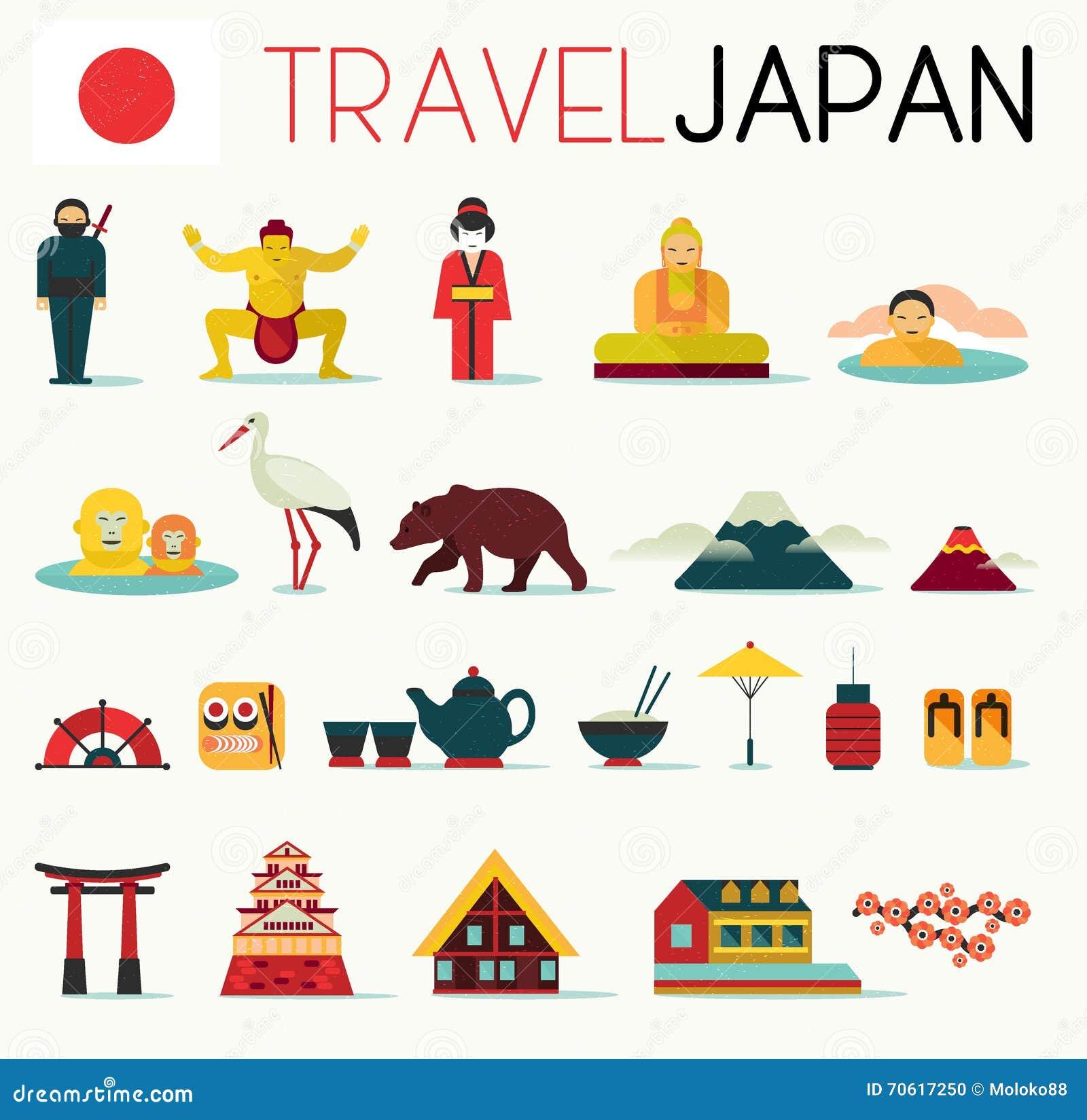 Hokkaido Travel Map In Flat Illustration. Cartoon Vector