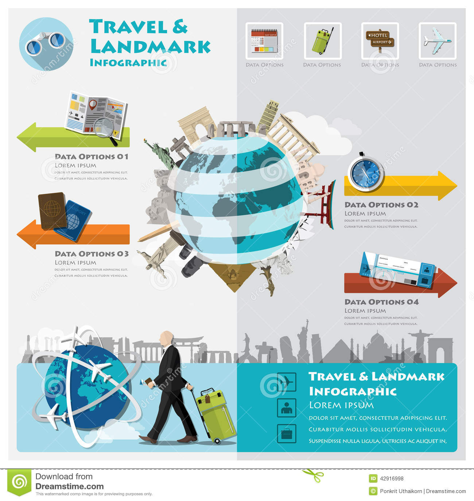 Travel And Journey Landmark Infographic Stock Vector