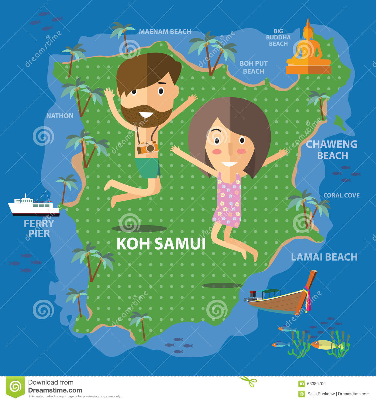 Travel Koh Samui Thailand stock vector Illustration of water 63380700