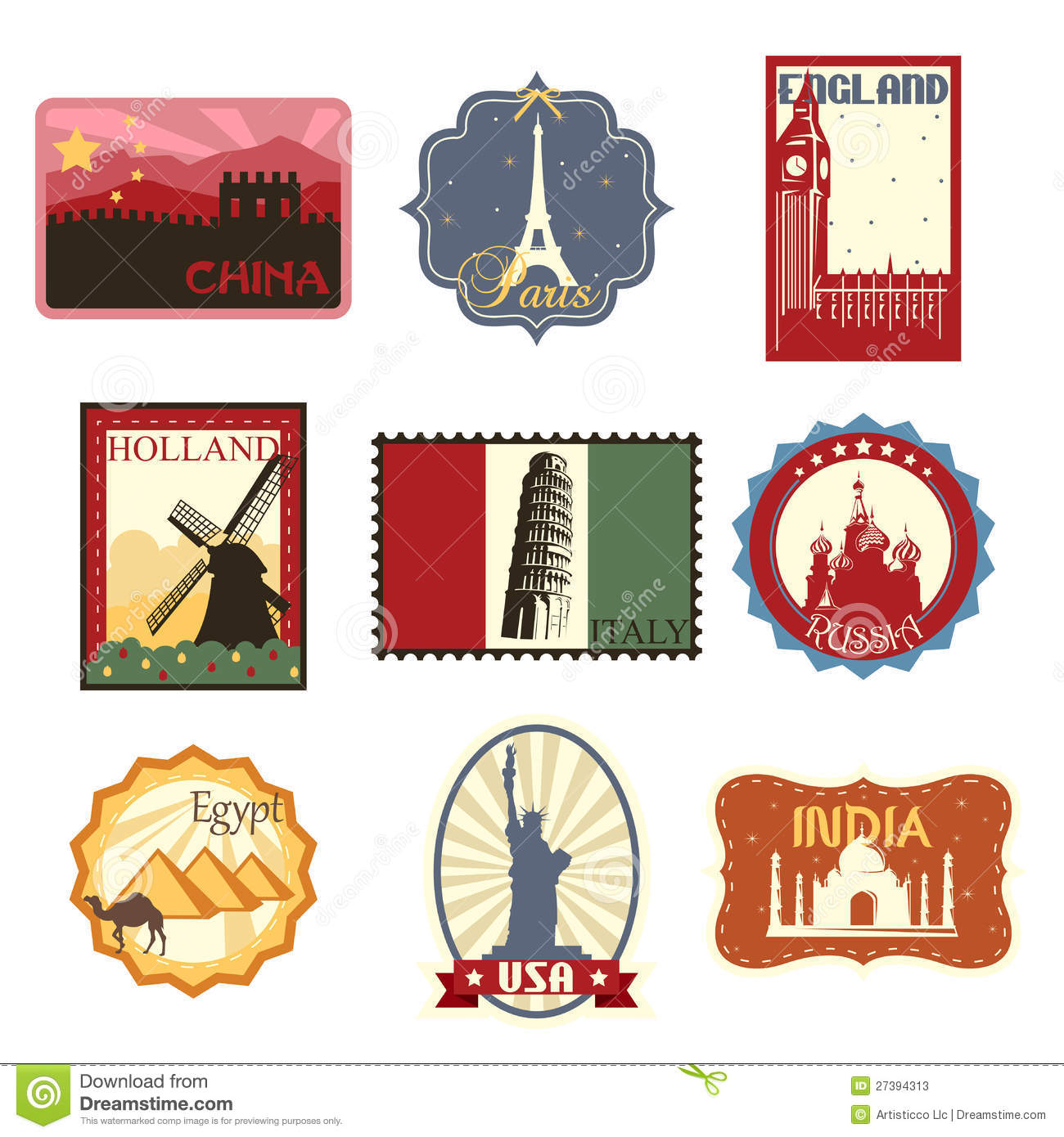 Statue Of Liberty Wall Sticker Travel Labels Or Badges Stock Photos Image 27394313